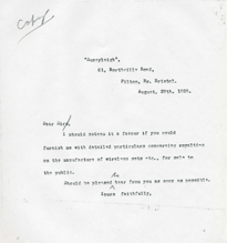 1929 Letter to Marconiphone Co.