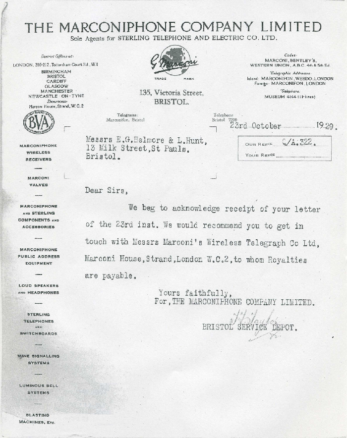 1929 Marconiphone Letter Reply